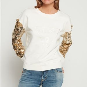 Guess sequin sleeve sweather